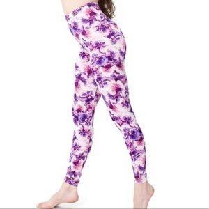 American Apparel Purple Floral Leggings